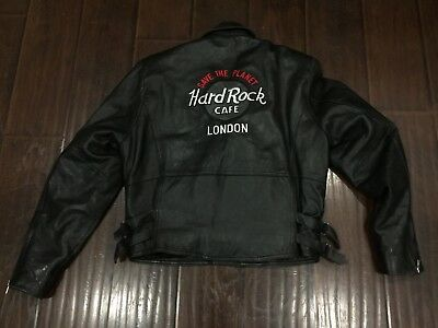 RARE🔥 Hard Rock Cafe London Save The Planet Motorcycle Leather Jacket Sz Small