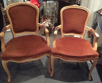 A Pair Of French Louis Style  Chairs Vintage Ornately Carved Chairs