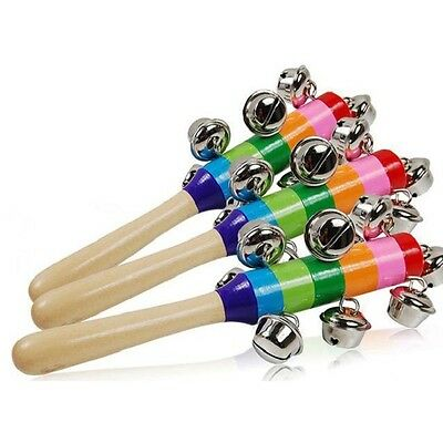 Rainbow Musical Instrument Toy Wooden Hand Jingle Ring Bell Rattle Baby Kid Gift