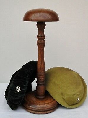 Vintage Turned Wood Hat Stand, Millinery Shop Display.