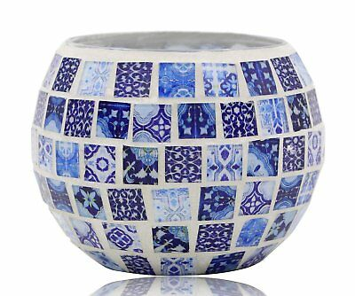 Vintage Oriental Chinese Blue and White Votive Tea Light Candle Holder Glass for