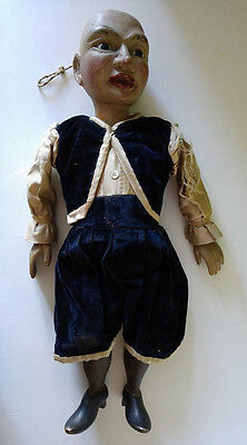 "Rare antique 17"" hand carved wooden marionette doll articulated glass eyes silk"