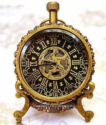 Engraved Brass Jewelry Table Clock Analog Vintage Brass Handmade with Stand