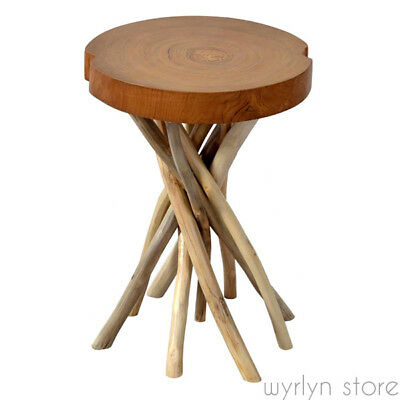 New End Table Natural Wooden Hand Crafted Antique Stand Rustic Side Chairside