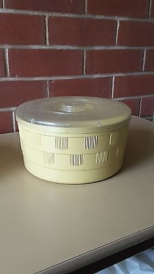 Vintage Retro PLASTIC BAKELITE YELLOW ROUND LIDDED  Canister CANNISTER