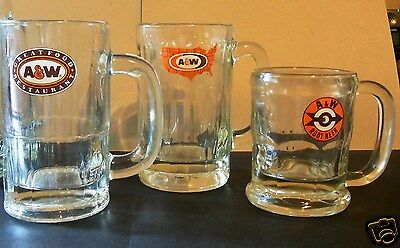 Lot,three (3) Various Logo's And Sizes, A&w Root Beer Mugs - Very Nice Condition