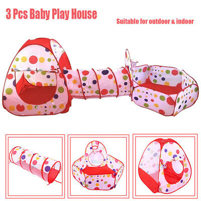 3 in 1 High-strength Play Tent Kids Toddlers Tunnel Set Children Baby Playhouse