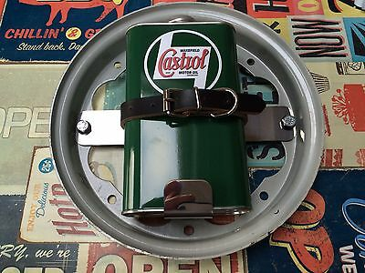 Lambretta Oil Can Holder In Polished Stainless steel With replica Castrol can