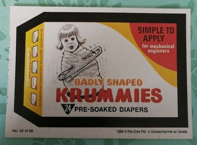 Vintage Wacky Packages 1988 #42 Badly Shaped Krummies Pre Soaked Diapers Card