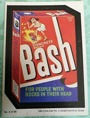 Wacky Packages 1988 #4 Concrete Bash Detergent Card O-PEE-CHEE OPC