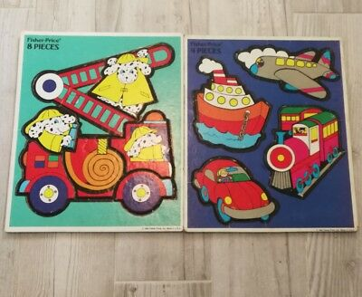 Fisher Price Tray Puzzle Toy Set 1992 Dog Airplane Firetruck Train