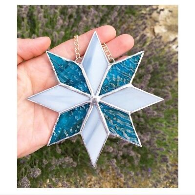 Handmade Stained Glass Star Suncatcher Tiffany Glass Technique Blue Grey Glass