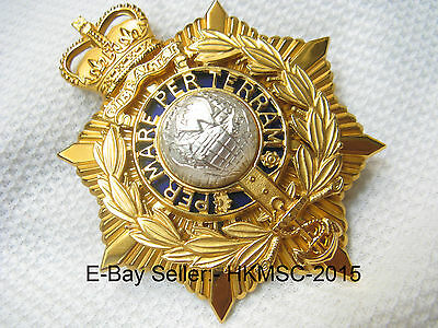 Genuine British Royal Marine Officers Large White Helmet Badge Plate