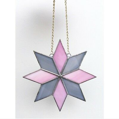 Handmade Stained Glass Star Suncatcher Tiffany Glass Technique Pink Grey Glass