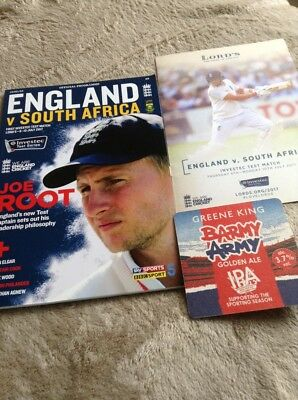 ENGLAND v SOUTH AFRICA JULY 6-10 2017 LORDS PROGRAMME + MATCH GUIDE + BEER MAT