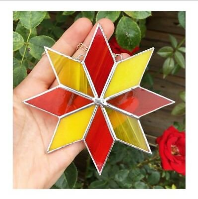 Handmade Stained Glass Star Suncatcher Tiffany Glass Technique Yellow Red Glass