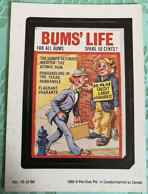 Wacky Packages 1988 #16 Bums Life Card