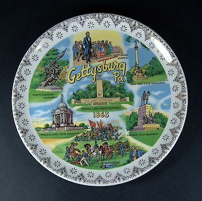 Vintage 1960's Gettysburg PA Souvenir Collector's China Plate - Homer Laughlin?