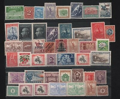 Uruguay Lot X 45 Surcharged Overprint Architecture Personalities Art Flora