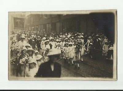 Isle of Man. Procession march. Early 1900s Real Photo postcard.