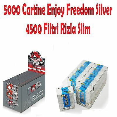 5000 CARTINE ENJOY FREEDOM SILVER CORTE + 4500 FILTRI RIZLA SLIM + accendino