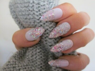 12 hand painted light pink & glitter stiletto full cover false nails, size large