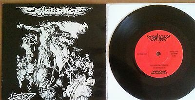 """Crawlspace – Deny Flashpoint FPR001EP UK 1996 7"""" PIC SLEEVE RARE DEATH METAL"""