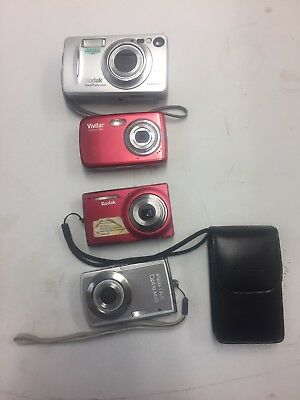 Lot Of 4 Digital Cameras (Pentax Kodak Vivitar) *description* As Is