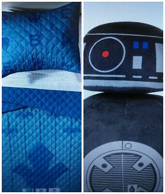 Star Wars Blue Quilt Set (Twin/Full) & Black Throw Pillow - 3PC