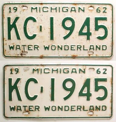 Michigan 1962 License Plate Pair, KC-1945, Genesee County