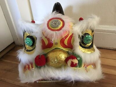 Vintage Chinese New Year Lion Dragon Mask Head Paper Mache Colorful Costume 12""