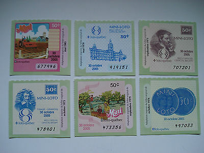Loto Quebec La Mini Lot Of 6 Different Tickets 30 October 2005 Used