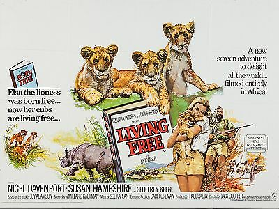 """Living Free 16"""" x 12"""" Reproduction Movie Poster Photograph"""