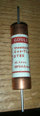 Gould Shawmut One Time OT80 80 AMP Fuse 250 VAC or less Class K5 NOS
