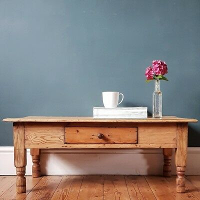 Victorian Farmhouse Rustic Pine Coffee Table with Drawer