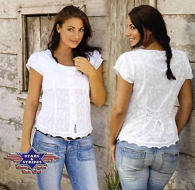 Country Westernbluse Dame - VIRGINIA - Gr. M - Sexy Stars & Stripes weiß Bluse