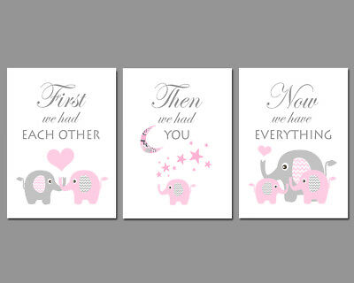 3 Wall Art Nursery Prints Baby Girl Pink & Grey Elephants Moon & Stars Baby Gift