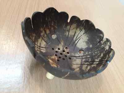 Coconut Shell Soap tray Brown wood dish tripod handmade carve flower bathroom