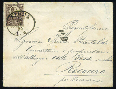 FIUME HUNGARY  1874. Nice registered cover to Vicenza