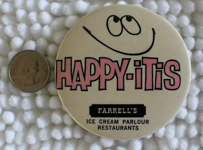 1969 Farrell's Ice Cream Parlour Restaurants Happy-Itis Pin Pinback Button 25587
