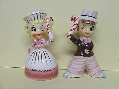 """RARE/VHTF Christmas """"Sweet Shop"""" Winking Kids w/Cany Canes Salt & Pepper Shakers"""