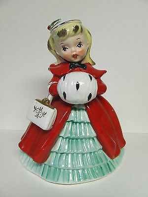 Vintage Christmas Blond Girl w/Muff, Purse & Hat Planter (# AX21938, Japan)
