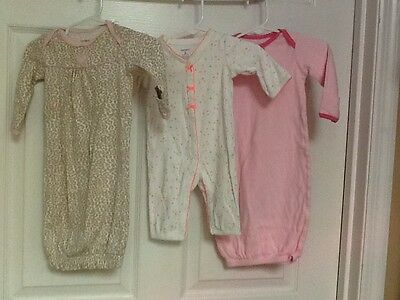 Carters lot of three two sleep gowns & an one-piece pajama size 0-3 months 48