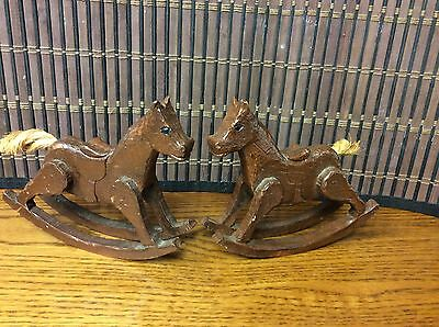Rocking Horses Vintage Small Wooden Hand Carved Rope Tail Signed GH