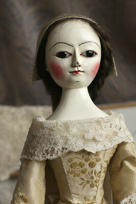 Marcia I, Queen Anne style hand carved wooden doll