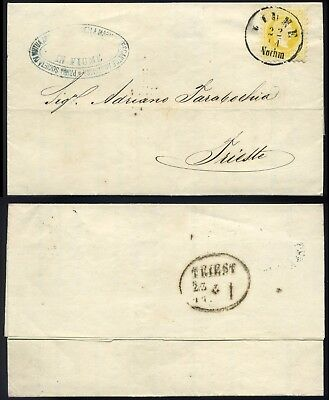 FIUME HUNGARY  1868. Interesting printed matter  posted to Trieste