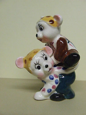Vintage Napco(?) Anthropomorphic Stacker Teddy Bears w/Polka Dots Salt & Pepper