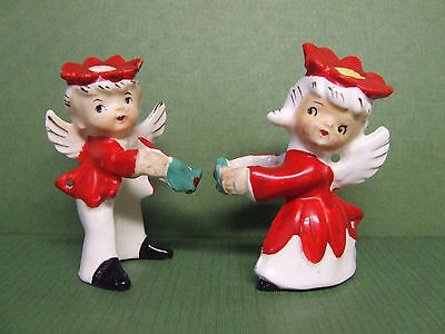 Vintage Christmas Boy & Girl Poinsettia Angels Candle Climbers/Huggers