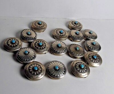 """16 Silvertone Metal Button Covers W/faux Turquoise Center 3/4"""" Rnd 2 Designs"""