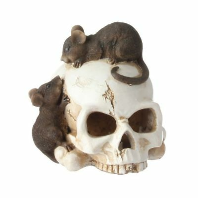 "RAZ Imports 5.5"" Lighted Skull with Mice Halloween New! H3609322"